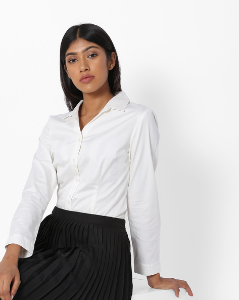 Shirt With Spread Collar By Project Eve WW Work ( White )