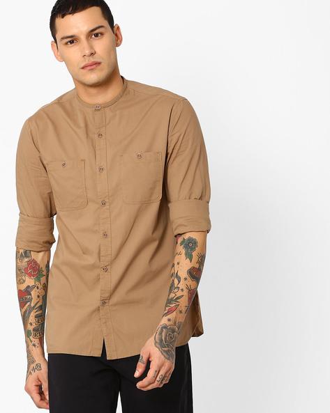 Classic Shirt With Mandarin Collar By AJIO ( Lightkhaki )