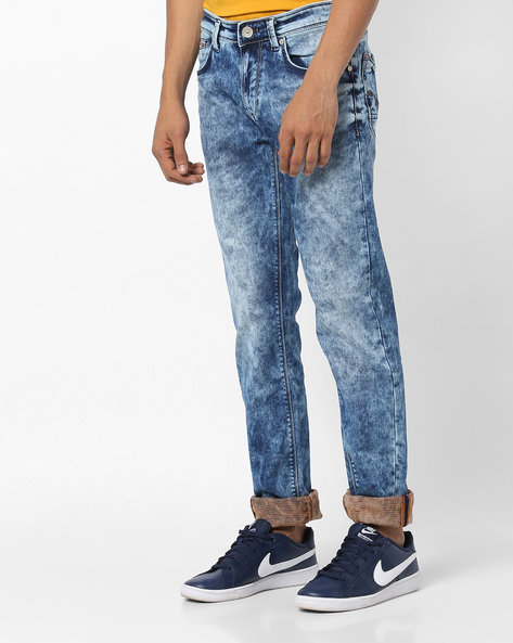 Heavily Washed Slim Fit Jeans By Killer ( Indigo )