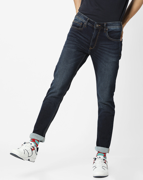 Light-Wash Slim Fit Jeans By Pepe Jeans ( Darkblue )