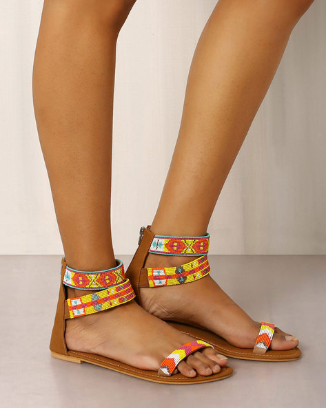 Beaded Sandals With Ankle Straps By Indie Picks ( Brown ) - 460017690001
