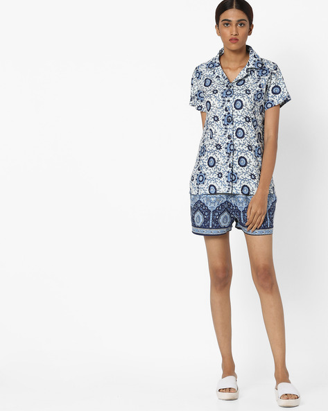 Printed Shirt And Shorts Set By Clovia ( White )