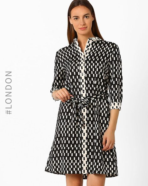 Printed Shirt Dress By Marks & Spencer ( Black )