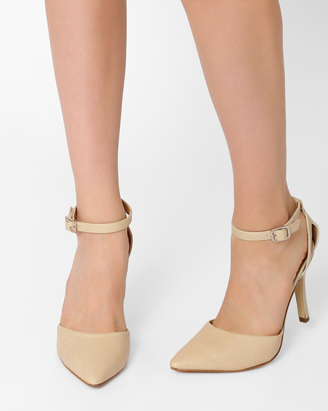 Pointed-Toe Stilettos With Ankle Strap By AJIO ( Nude )