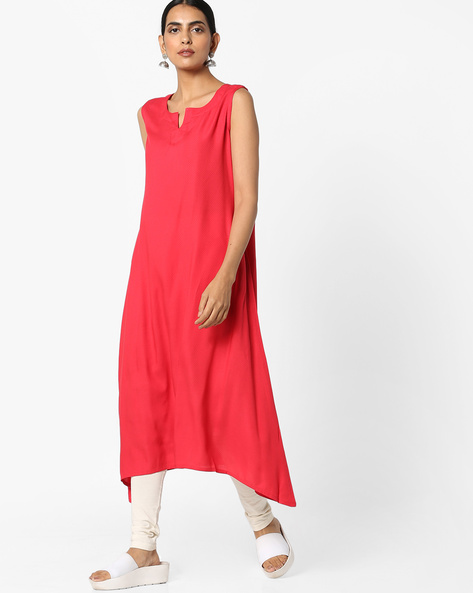 Straight Kurta With Asymmetrical Hem By Project Eve IW Casual ( Coral )