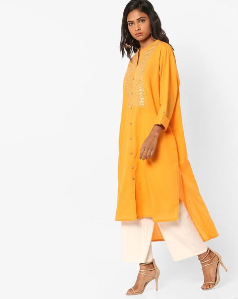 High-Low Kurta With Embroidery By Alto Moda By Pantaloons ( Yellow )