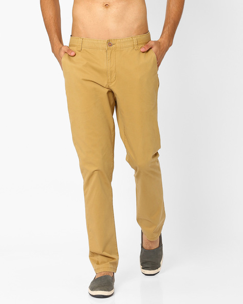 Mid Rise Slim Fit Stretch Chinos By AJIO ( Khaki )
