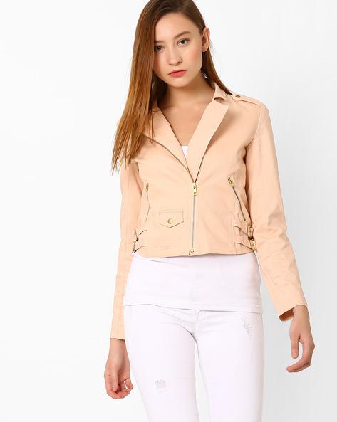 Twill Jacket With Zip Detailing By AJIO ( Lightpink )