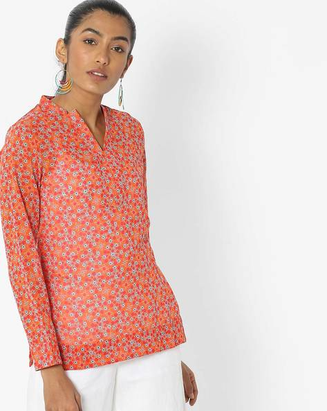 Floral Print Top With Open Collar By Desi Fusion ( Orange )