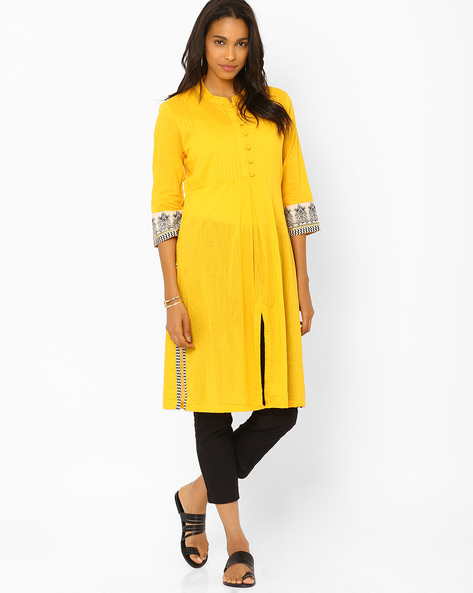 Kurta With Mandarin Collar By Rangriti ( Ltyellow )