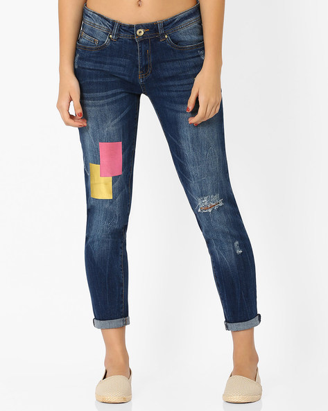 Distressed Jeans With Foil Print By AJIO ( Blue )