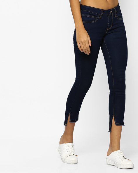 Skinny Fit Jeans With Frayed Hems By DNMX ( Darkblue )