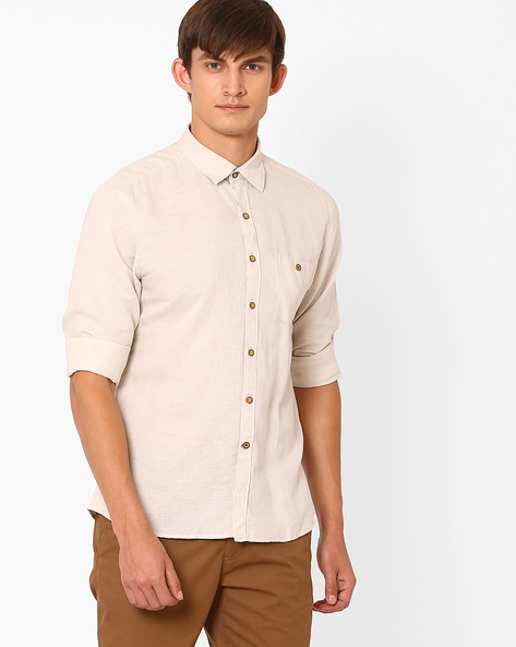 Trim Shirt With Curved Hem By NETPLAY ( Beige )