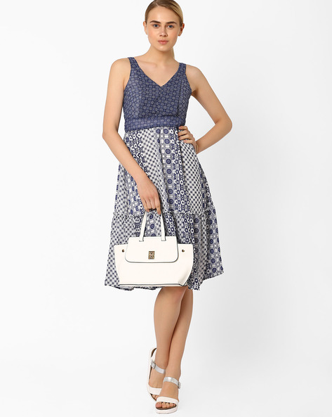 Printed Fit & Flare Dress By CHM ( Blue )