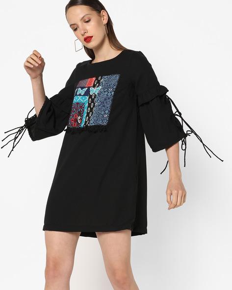 Shift Dress With Tie-Ups By AJIO ( Black )