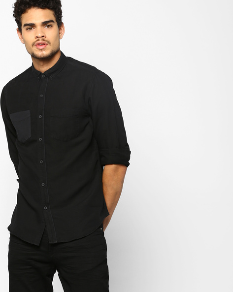 Classic Shirt With Button-Down Collar By AJIO ( Black )