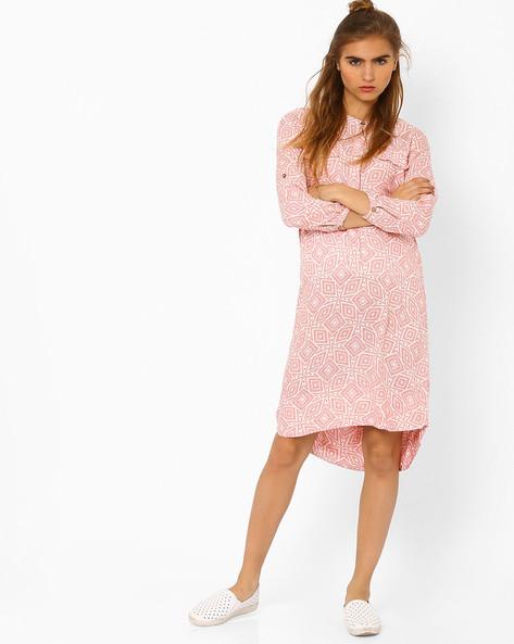 Printed Dress With High-Low Hem By CHM ( Ltpeach )