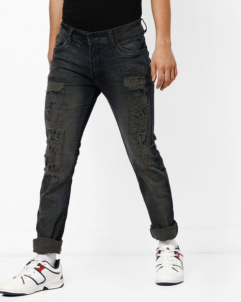 Heavily Distressed Slim Jeans By RexStraut JEANS ( Blue )