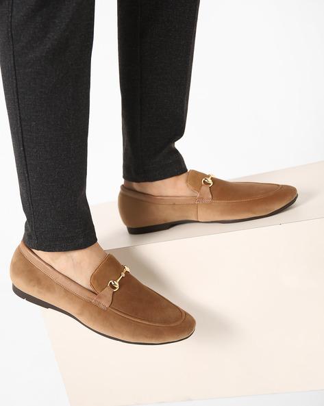 Genuine Leather Bit Loafers By Modello Domani ( Beige )