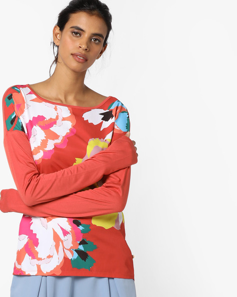 Floral Print Top With Drop-Shoulder Sleeves By UNITED COLORS OF BENETTON ( Orange )