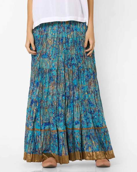 Printed Maxi Skirt By AVAASA MIX N' MATCH ( Blue )