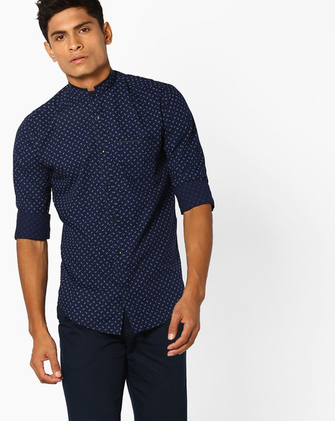 Paisley Print Shirt With Band Collar By MUFTI ( Navy )
