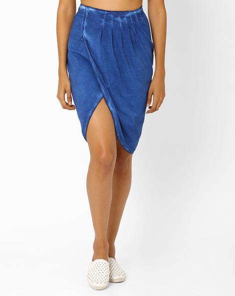 Pencil Skirt With Pleats By AJIO ( Blue )