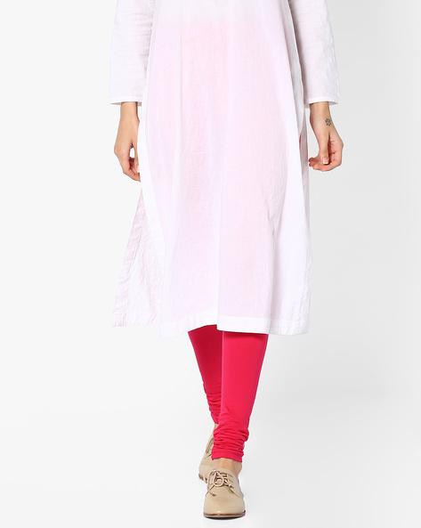 Churidar Leggings With Elasticated Waist By Global Desi ( Pink )