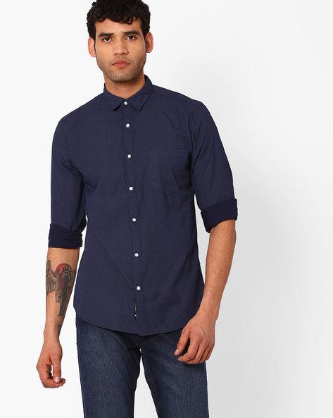 Regular Fit Printed Shirt By Blue Saint ( Navy )