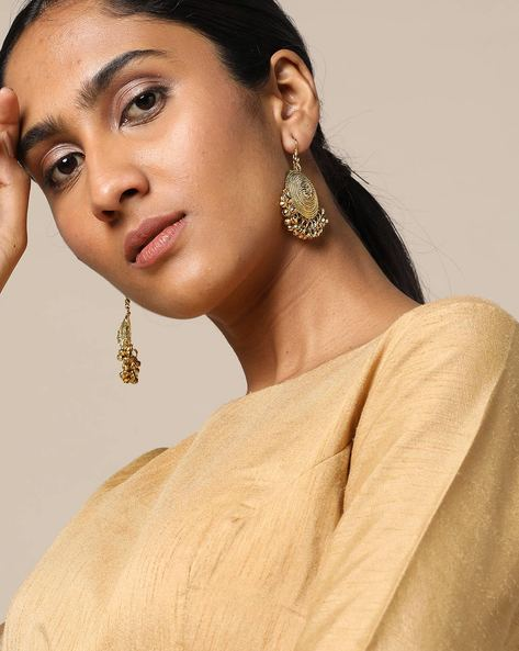 Oxidised Traditional Filigree Earrings By Rubans ( Gold )