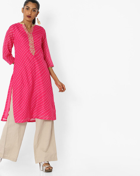 Printed Straight Kurta With Embroidery By Biba ( Pink )