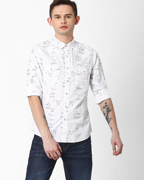 Dolphin Print Slim Fit Shirt By AJIO ( White )