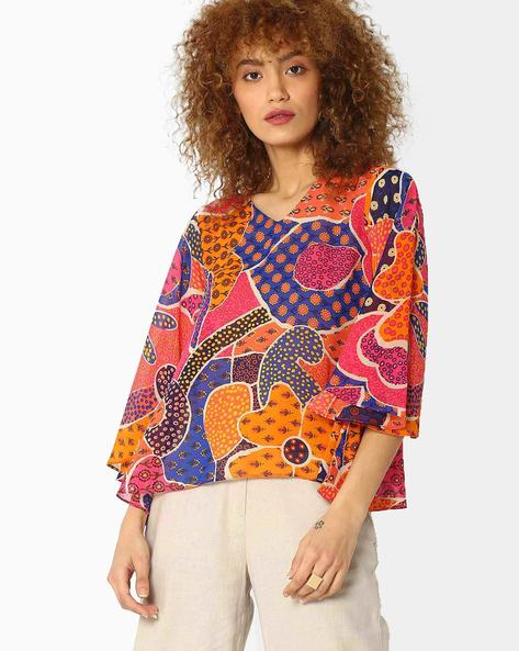Printed Top With Flared Sleeves By Global Desi ( Orange )