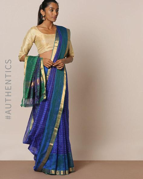 Handloom Pure Silk Cotton Mangalgiri Saree By Indie Picks ( Blue ) - 460194549001
