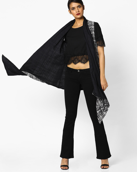 Printed Waterfall Shrug By Project Eve IW Casual ( Black )