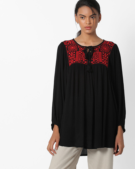 Top With Embroidered Yoke By Global Desi ( Black )