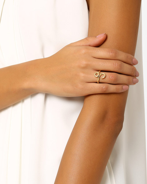 Brass Statement Ring By AJIO ( Gold )