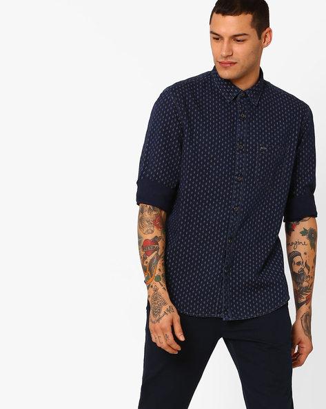 Printed Slim Fit Cotton Shirt By BASICS ( Navy )