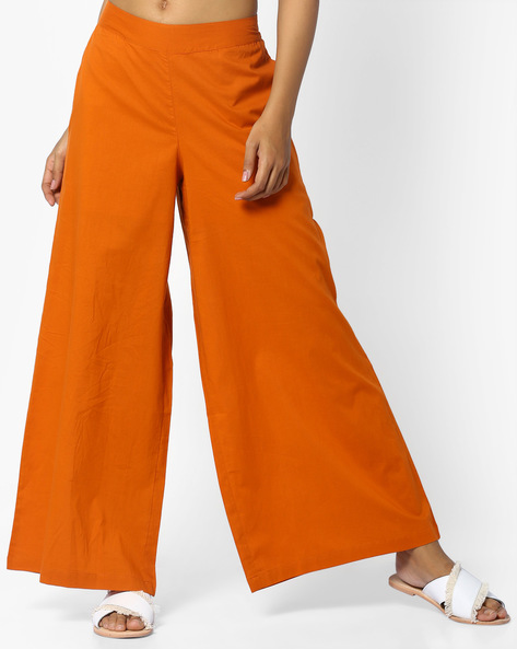 Palazzo Pants With Elasticated Back By AJIO ( Mustard )
