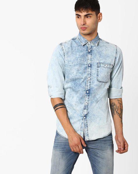 Denim Shirt With Patch Pocket By ADAMO LONDON ( Lightblue )