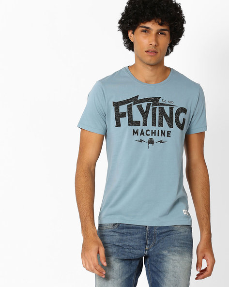 Crew-Neck T-shirt With Typographic Print By FLYING MACHINE ( Blue )