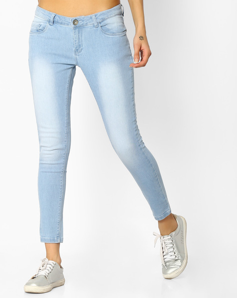 Lightly Washed Skinny Jeans By BOSSINI ( Blue )
