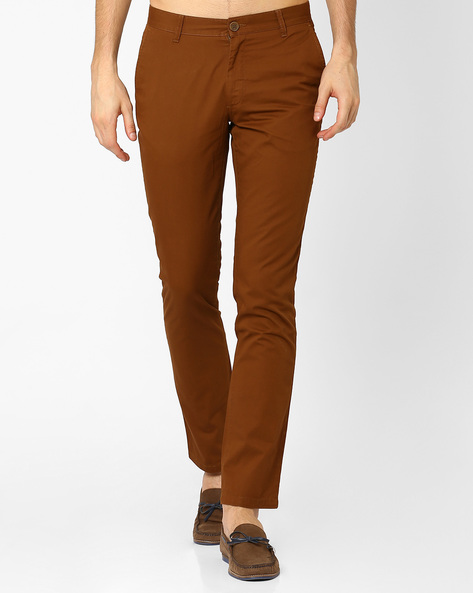 Slim Fit Cotton Trousers By JOHN PLAYERS ( Brown )