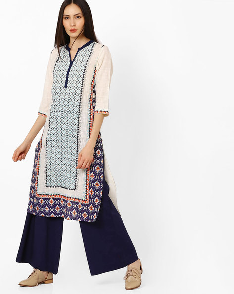 Printed Cotton Straight Kurta By AURELIA ( Blue )