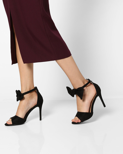 Peep-Toe Stilettos With Ankle-Strap Bow By AJIO ( Black )