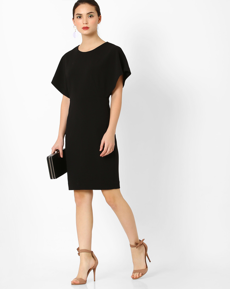 Sheath Dress With Butterfly Sleeves By AJIO ( Black )