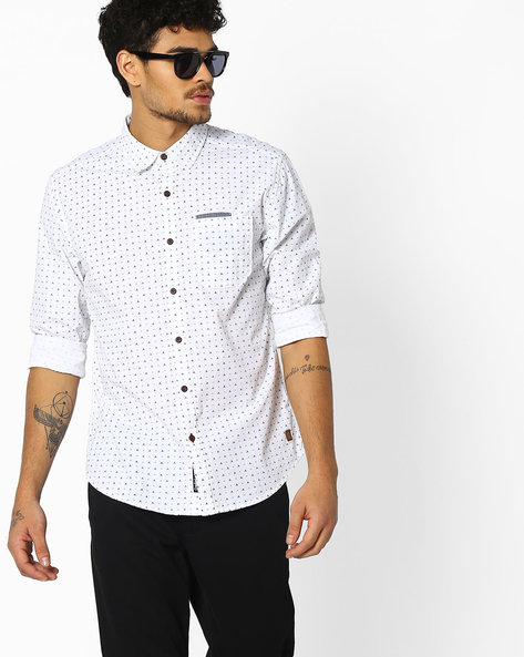 Ditsy Print Shirt With Curved Hem By DNMX ( Offwhite )