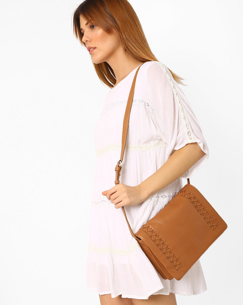 Faux Leather Sling Bag By AJIO ( Tan )