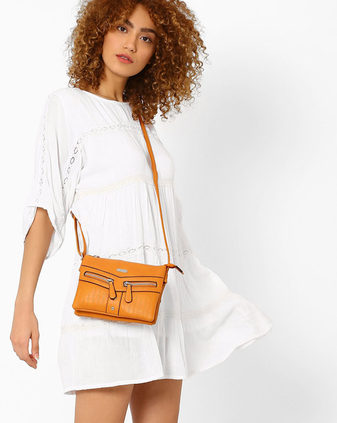 Sling Bag With Multiple Pockets By Lavie ( Tan )