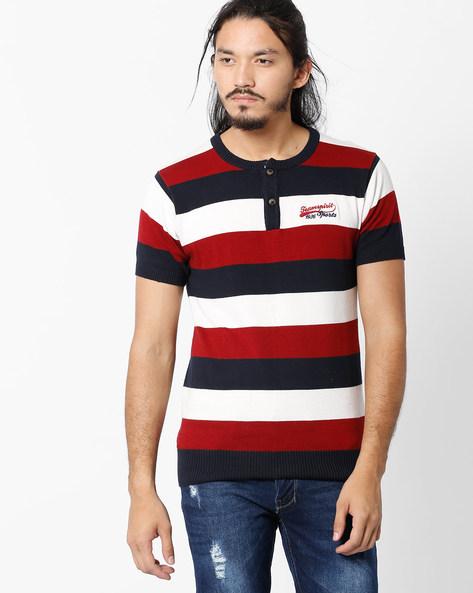 Striped Henley T-shirt By TEAM SPIRIT ( Red )